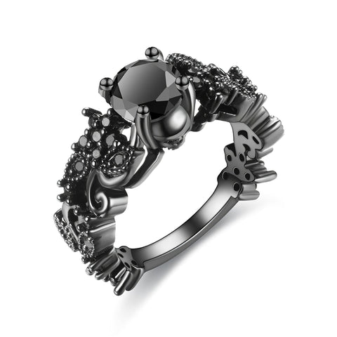 Women's Black Diamond Skull Ring