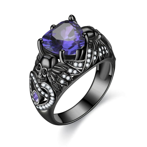 Women's Black Silver Skull Ring