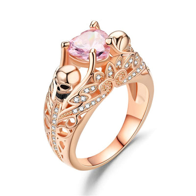 Women's Colored Heart Skull Ring