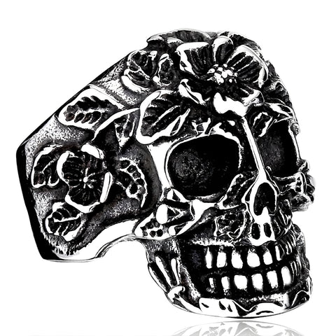 Women's Flower Skull Ring
