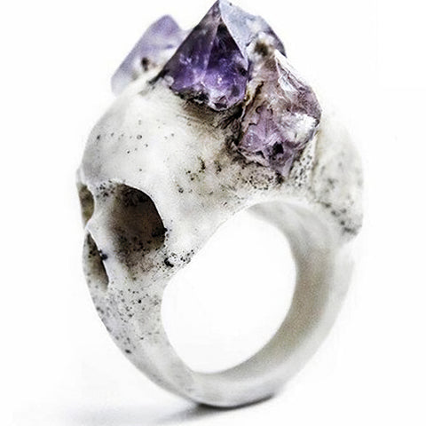Women's Gothic Skull Ring with Amethyst