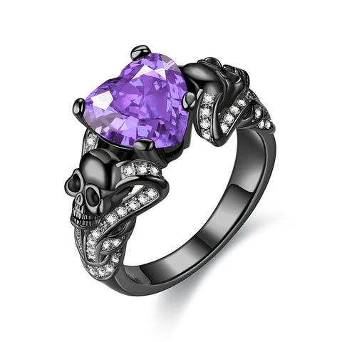 Women's Purple Skull Ring