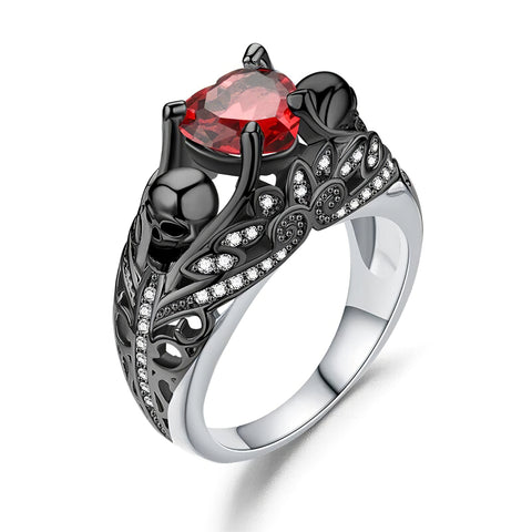 Women's Ring with Skull Stone