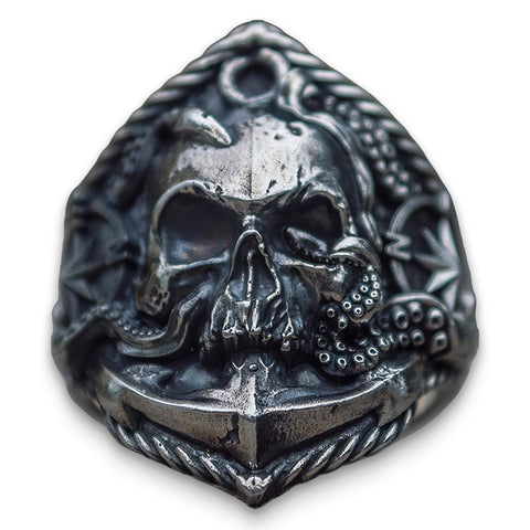 Anchor Skull Ring