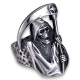 Biker Reaper Ring in Steel