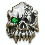 Emerald Dragon Skull Ring