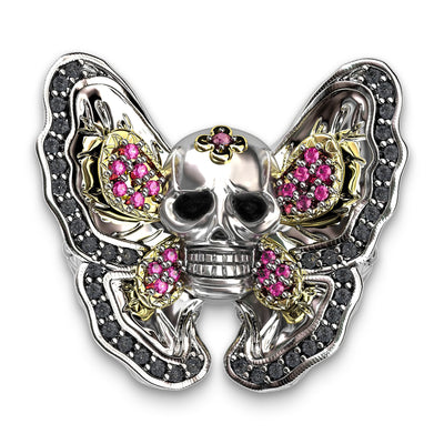 Gothic Butterfly Skull Ring