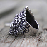 "Indian Chief Skull Ring <br>""Feather of Wisdom"""