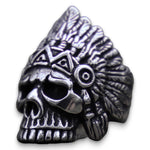 Indian Chief Skull Ring Stainless Steel