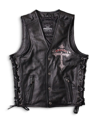 leather biker vest with gun pockets