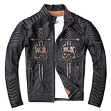 leather jacket skull front mens