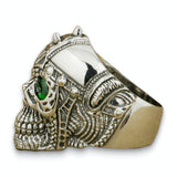 "Men's Biker Skull Ring <br>""Emerald Biker"""