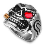 Mens Skull Rings with Red Eyes