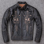 mens badass skull leather jacket