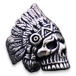 Native American Skull Indian Chief Head Ring