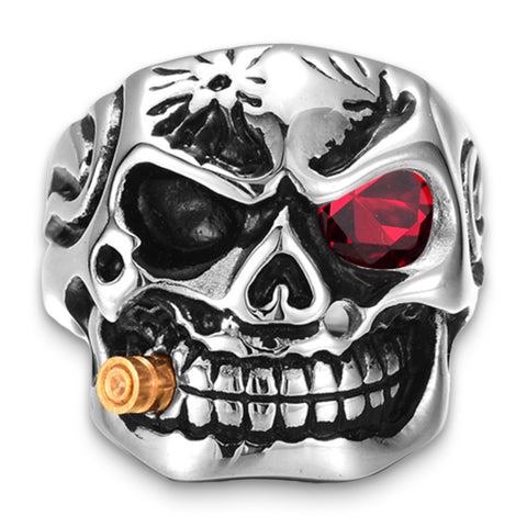 Skull Ring with Red Eyes
