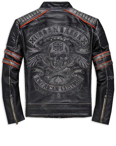skull leather jackets motorcycle