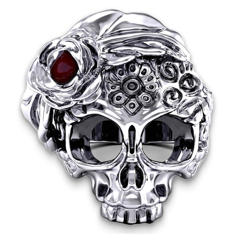 Stainless Steel Womens Skull Ring