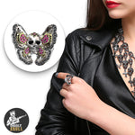 Woman Butterfly Skull Ring