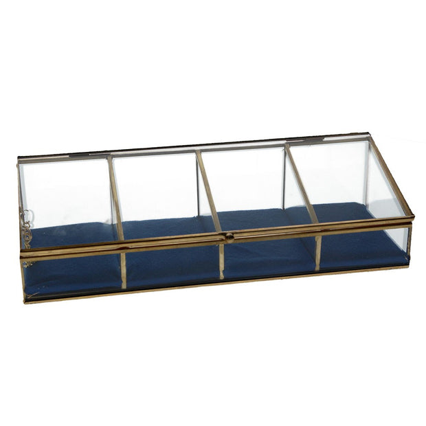 Brass & Glass Sloped Jewellery Box with Blue Velvet Cushions