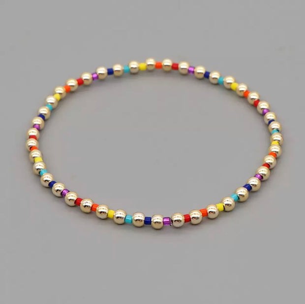 Sunset Golden Bead Rainbow Bracelets