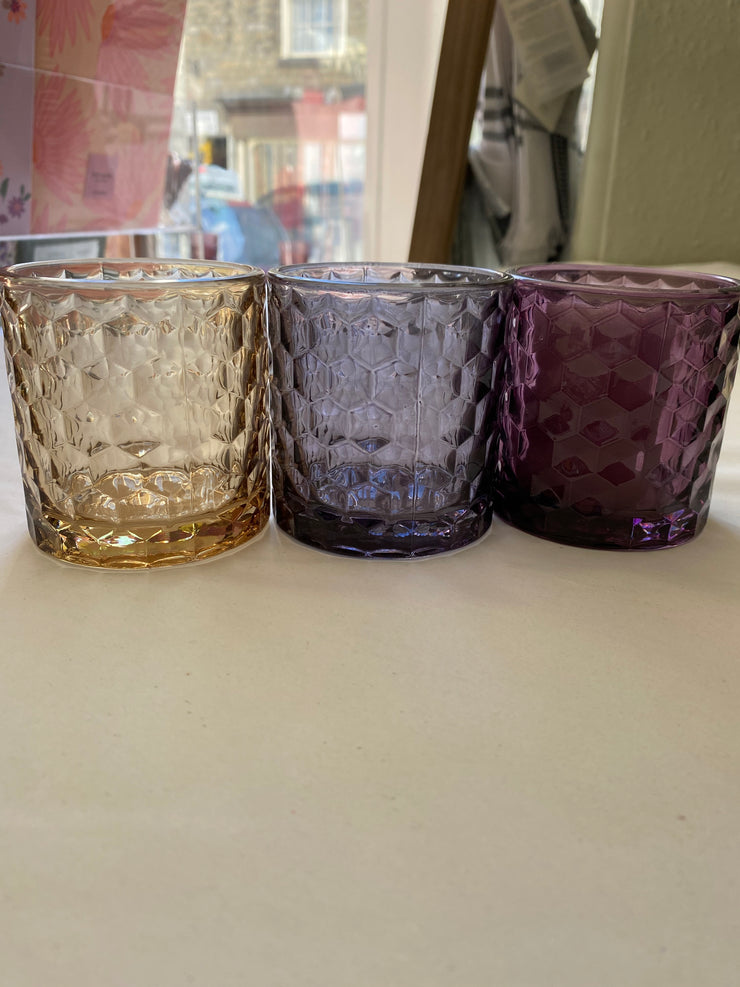 R and L Coloured dimpled Glass Tealight Holder