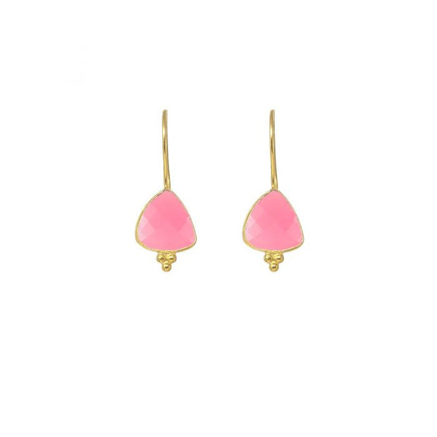 Ashiana Lola Small Triangle Gemstone Set with Gold Buttons Earrings