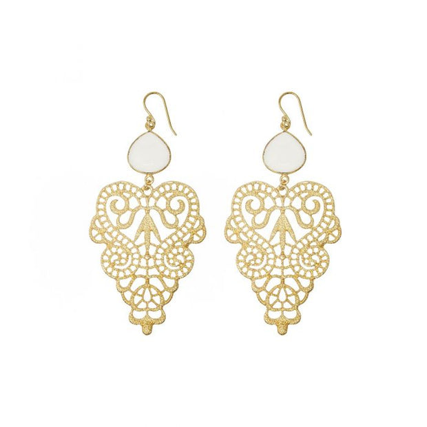 Ashiana Clearwater Statement Gold Earrings