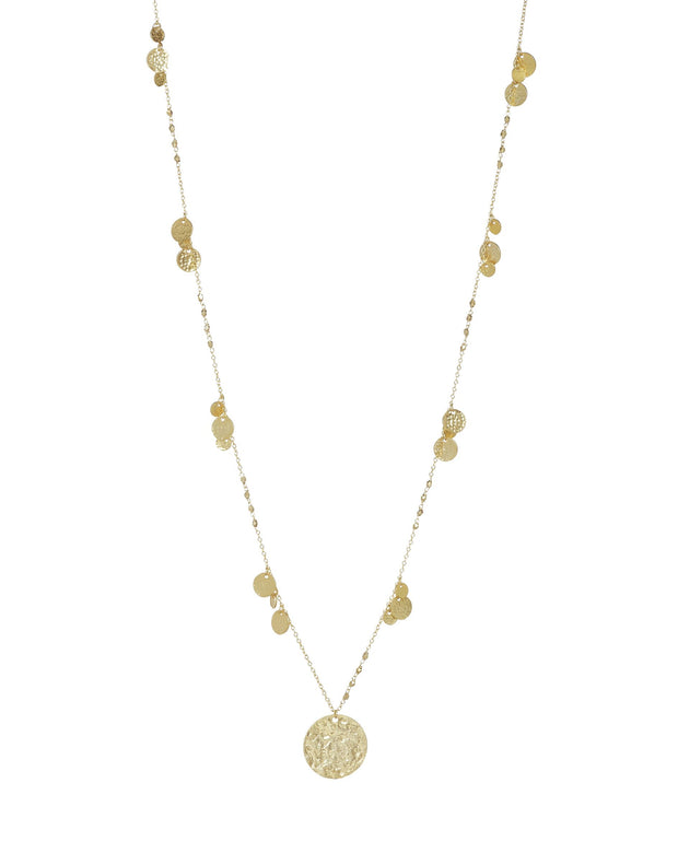 Ashiana Boho Long Coin Necklace in Gold or Silver