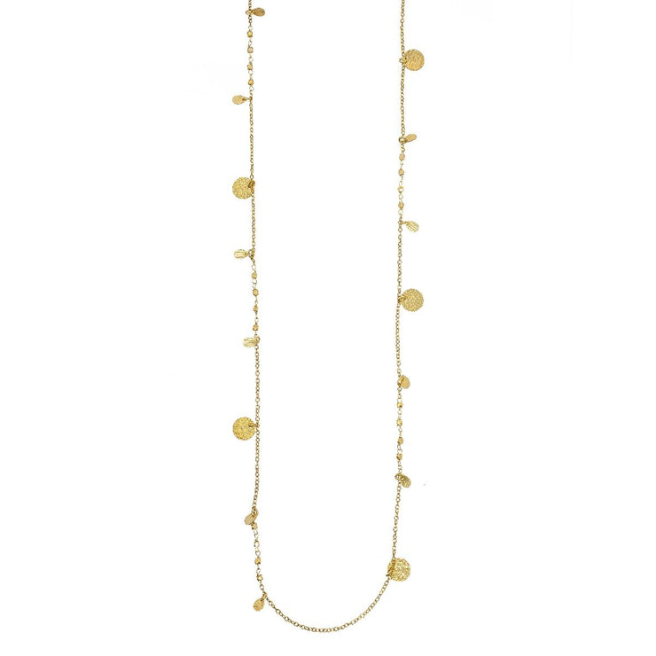 Ashiana Athens Long Gold Coin Necklace