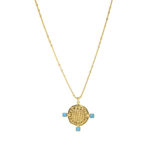 Ashiana Roman Coin Necklace with gemstones
