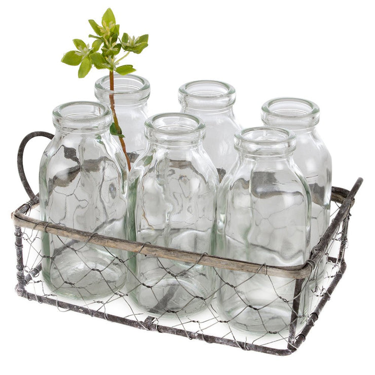 Wire Basket with 6 Mini Milk Bottles