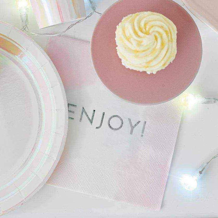 Enjoy! Silver Embossed Napkins