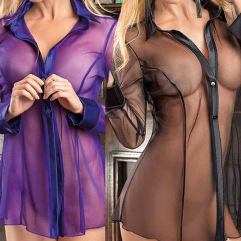 Alexa's Lingerie | Women Button Lingerie Dress | Transparent Long Sleeve Blouse