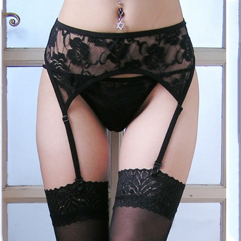 Alexa's Lingerie | Lace Thigh-Highs Stockings + Suspender Garter Belt