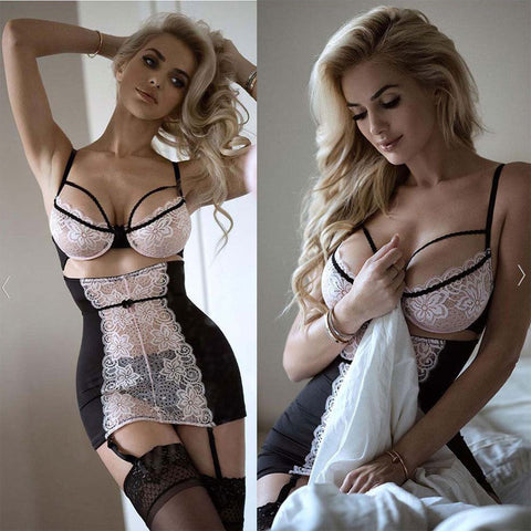 Sexy Lace Solid Lingerie Women G-string Hot Erotic Babydoll Sleepwear Robe Sexy Underwear Dress Sex Costumes XXXL Plus Size Porn