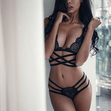 Alexa's Lingerie | Translucent Bandage Lace Cross Belt Hollow Bra