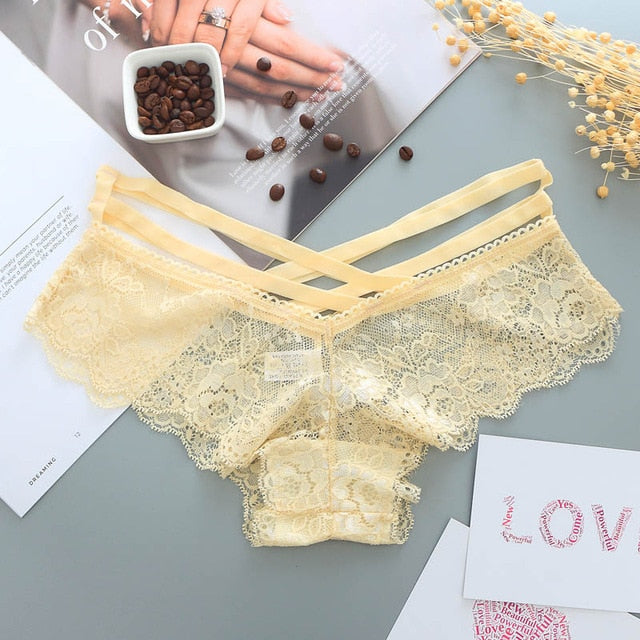Alexa's Lingerie | Sexy Panties Women Lace Low-rise Solid Sexy Briefs Female Underwear Pant Ladies Cross strap lace Lingerie Women G String Thong