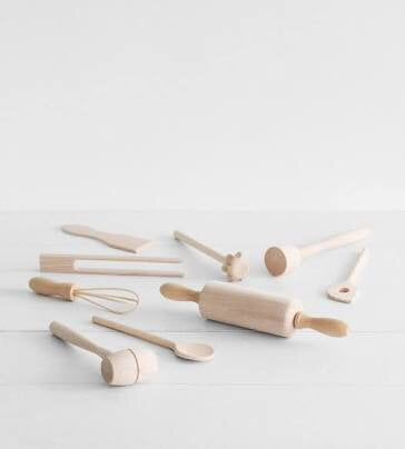 9 Piece Children Wooden Utensil Set
