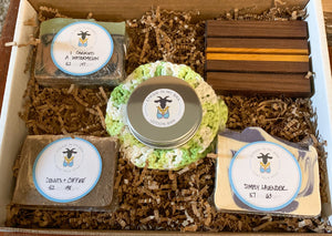 bath and soap gift set; collection of handmade goat milk soaps and bath products