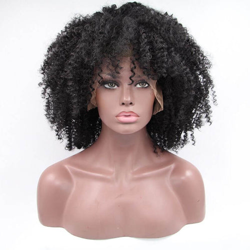ITYMAHAIR Black Afro Curly Short Synthetic Lace Front Wig-IACURLY05-01