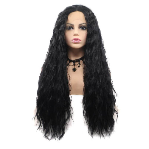 ITYMAHAIR Black Loose Wavy Long Synthetic Lace Front Wig-IALONG07-01