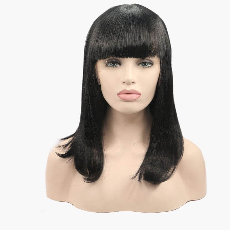 ITYMAHAIR Black Straight Bob Synthetic Lace Front Wig with Bangs-IABOB03-01