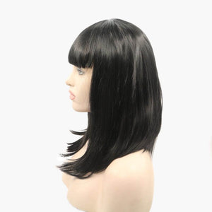 ITYMAHAIR Black Straight Bob Synthetic Lace Front Wig with Bangs-IABOB03-02