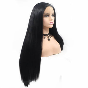ITYMAHAIR Black Straight Long Synthetic Lace Front Wig-IALONG01-02