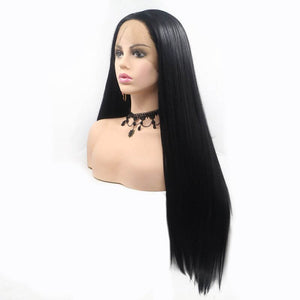 ITYMAHAIR Black Straight Long Synthetic Lace Front Wig-IALONG01-03
