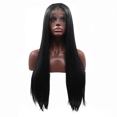 ITYMAHAIR Black Straight Long Synthetic Lace Front Wig with Baby Hair-IALONG09-01
