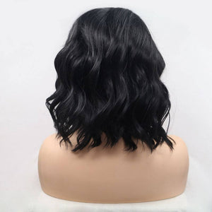 ITYMAHAIR Black Wavy Bob Synthetic Lace Front Wig with Side Bangs-IABOB24-03