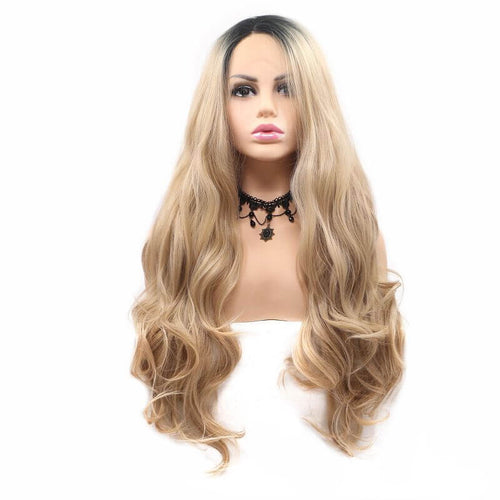 ITYMAHAIR Black to Blonde Ombre Wavy Long Synthetic Lace Front Wig-IALONG39-01