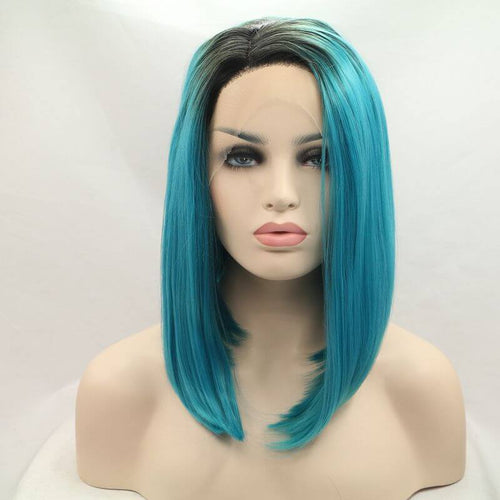 ITYMAHAIR Black to Blue Ombre Straight Bob Synthetic Lace Front Wig-IABOB23-01
